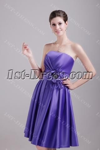 Purple Knee Length Bridesmaid Dress Cheap 1371