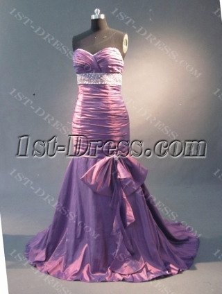 Purple  Mermaid Trumpet Taffeta Prom Dress 1826