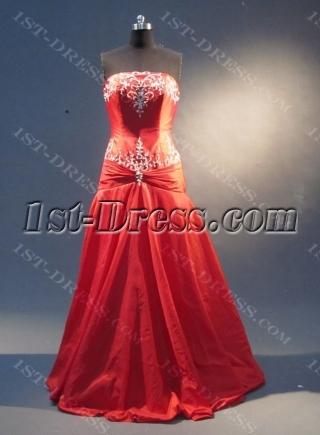 Red A-Line Floor-Length Taffeta Prom Dress 1841