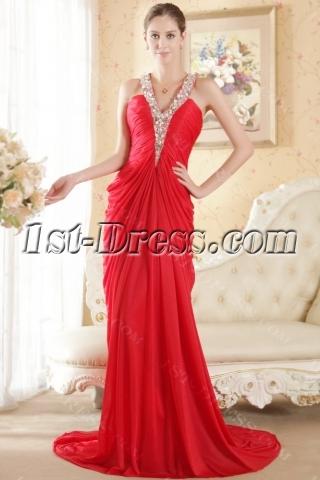 Red Halter Column Chiffon Elegant Bridal Gown