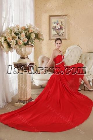 Red High-low Beach Informal Wedding Dress