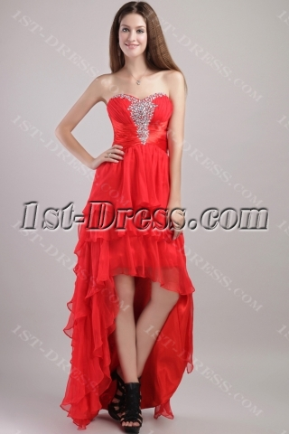 Red High to Low Prom Dress with Sweetheart  1993