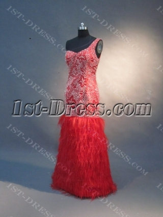 Red Mermaid Trumpet One Shoulder Satin Prom Dress 1590