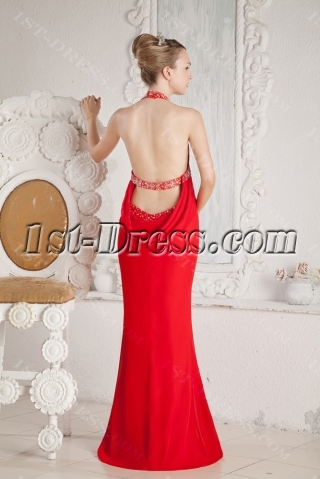 Red Sexy Beach Evening Dress with Open Back