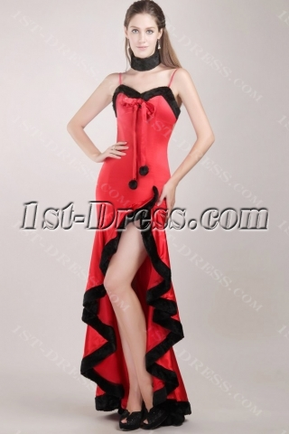 Red and Black High-low Sexy Christmas Prom Dress for Winter