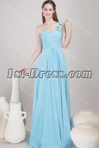 Romantic Chiffon Long Blue Graduation Dress for College