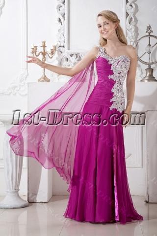 Romantic Fuchsia Celebrity Dress with Sash