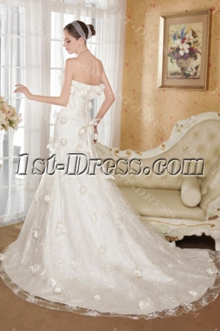 Romantic Sheath Princess Bridal Gown with Flowers