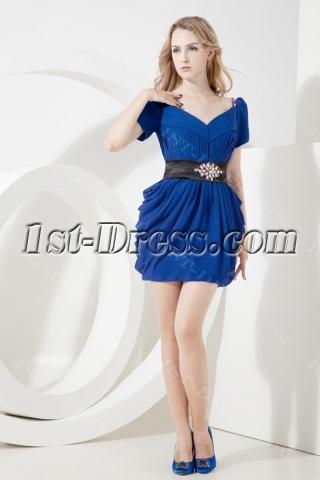 Royal Lantern Informal Prom Dress with Short Sleeves
