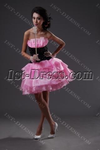 Sheath / Column Strapless Short / Mini Satin Organza Sweet 16 Dress 2228-1