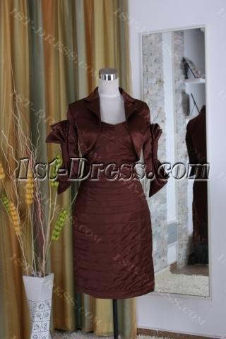 Sheath / Column Tight Jewel High Neck Knee-Length Satin Mother of The Bride Dress 5376