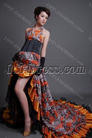 Sheath / Column V-Neck Short / Mini Long / Floor-Length Taffeta Lace Prom Dress 7083-2