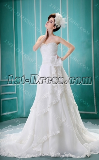 Sheath/Column Sweetheart Court Train Organza Wedding Dress With Ruffle Beadwork H-127