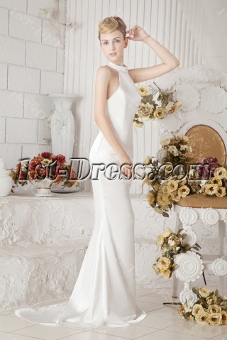 Sheath Halter Informal Wedding Dress for Beach