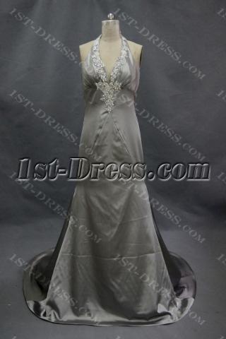 Sheath Halter Sweep Train Prom Dress With Ruffle Beading Flower 02265