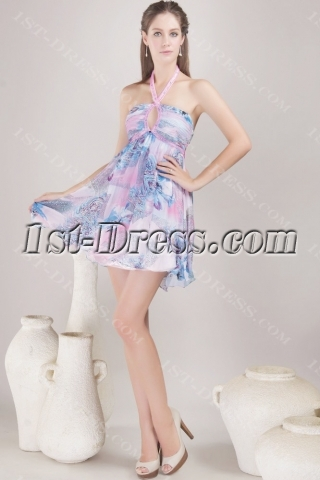 Short Halter Print Chiffon Homecoming Dress with Open Back