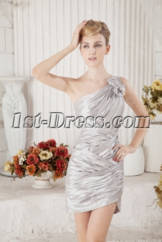 Silver One Shoulder Mini Homecoming Dress
