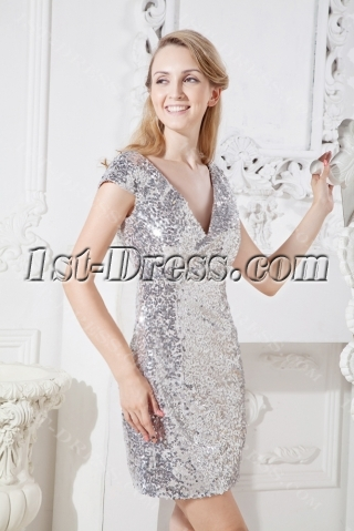 Silver Sequins Short Cocktail Party Dress with Cap Sleeves
