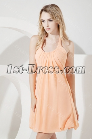 Simple Orange Halter Homecoming Dress
