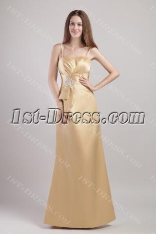 Spaghetti Straps Dark Champagne Bridesmaid Dresses 1916