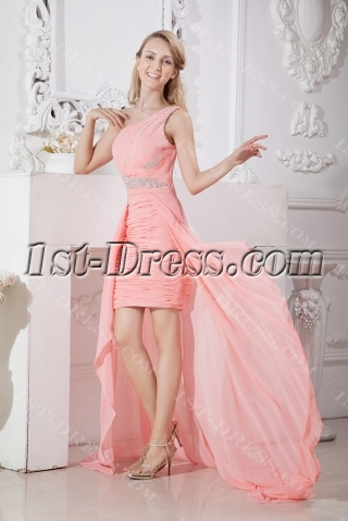 Special One Shoulder Cocktail Dress with Train