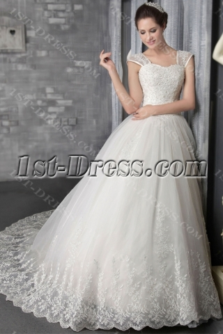Spring 2014 Ivory Luxury Lace Princess Bridal Gown 2555