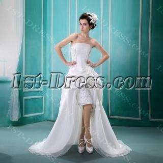 Strapless Asymmetrical Satin Organza Wedding Dress With Ruffle Lace Beadwork Sequins