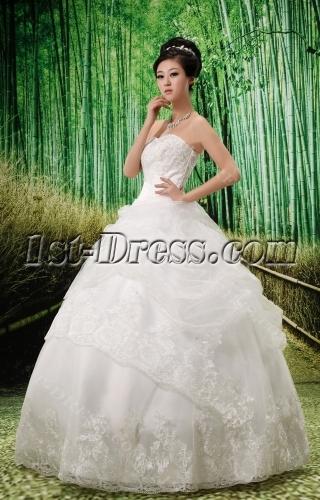 Strapless Floor-Length Satin Organza Wedding Dress With Ruffle Lace Beadwork