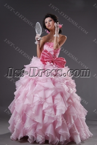 Strapless Sweetheart Long / Floor-Length Satin Organza Quinceanera Dress 2220