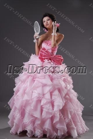 Strapless Sweetheart Long / Floor-Length Satin Organza Quinceanera Dress 2220