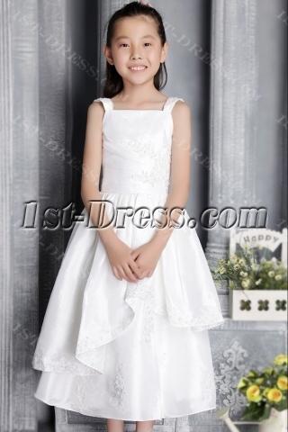 Straps Ivory Tea Length Flower Girl Gown 2660