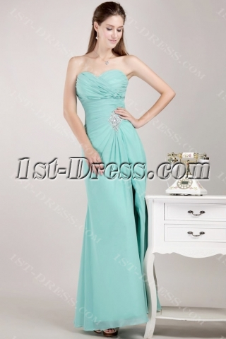 Sweetheart Apple Green Masquerade Prom Gown Dress with Slit