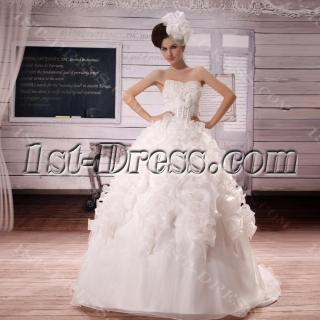 Sweetheart Court Train Organza Satin Wedding Dress With Beadwork Sequins