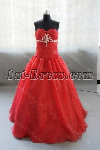 Sweetheart Floor-Length Taffeta Organza Quinceanera Dress With Beading Flower 02441