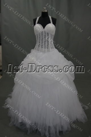 Sweetheart Organza Satin Wedding Dress With Beadwork Sequins 03475