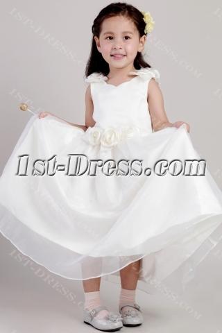 Tea Length Little Girls Flower Girl Dresses with Floral 2026