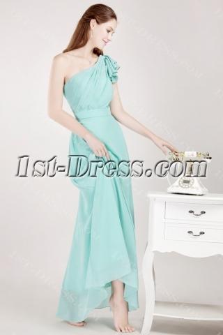 Teal Chiffon One Shoulder Evening Dresses for Women
