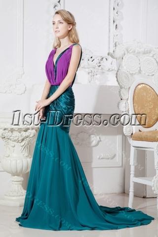 Teal Long Formal Mother of Brides Dress