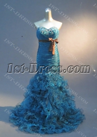 Turquoise Mermaid Trumpet Strapless Sweetheart Satin Organza Prom Dress 1767