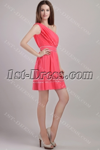 Water Melon Beautiful One Shoulder Short Graduation Dresses 2247
