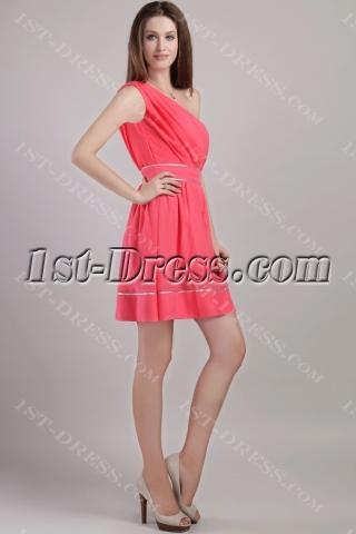 Water Melon Beautiful One Shoulder Short Graduation Dresses 2247