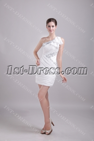White One Shoulder Cocktail Dress Short 1209