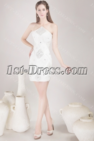 White Short Club Party Dress 4478
