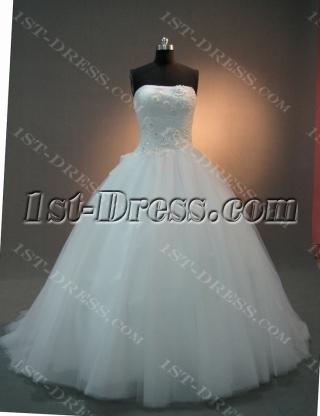 White Strapless Sweetheart Natural Waist Satin Tulle Wedding Dress 2063