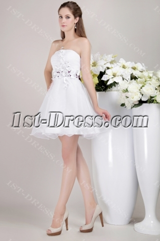 White Sweet 16 Dress Short with Floral