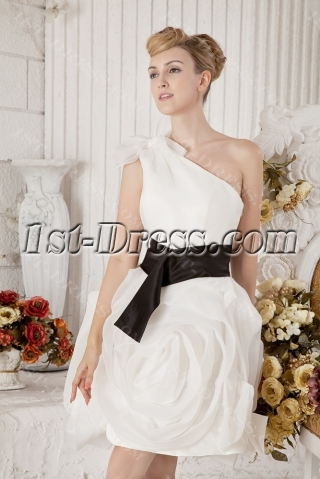 White and Black Short Bridal Gown for Outdoor