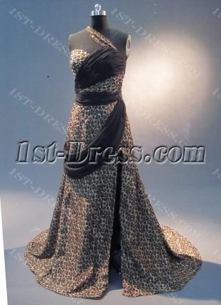 Zebra  A-Line Floor-Length Satin Prom Dress 1801