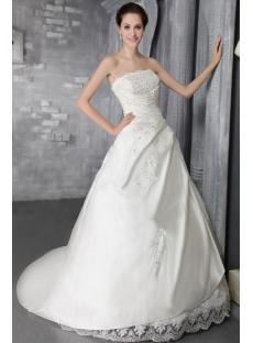 2012 Simple A-line Long Western Wedding Dress 2667