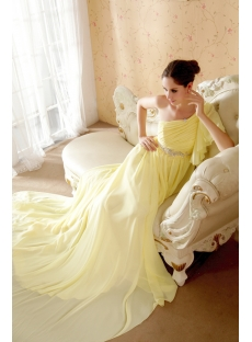2012 Yellow Prom Dresses Long with Detachable Train