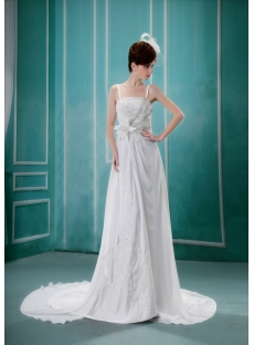 A-Line Asymmetrical Satin Chiffon Wedding Dress With Lace Beadwork
